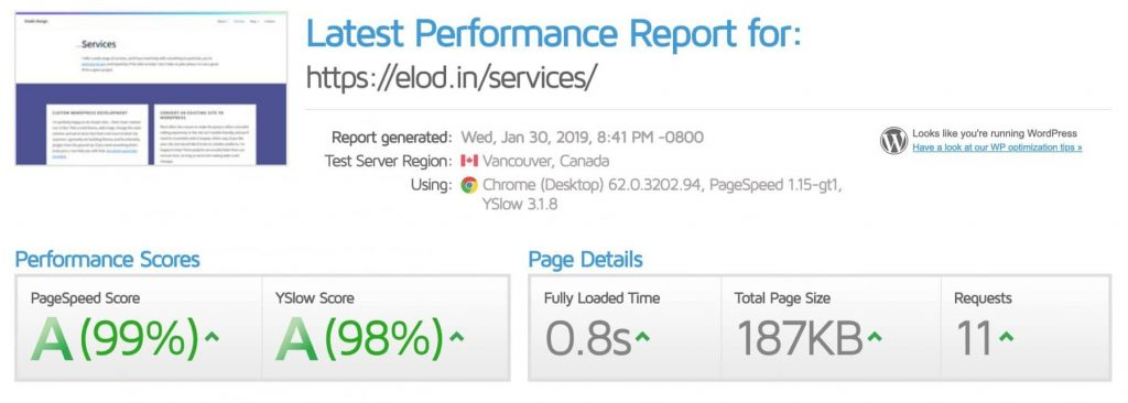 GTMetrix report for the services page